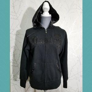 Harley Davidson Black Full Zip Embroidered Hoodie